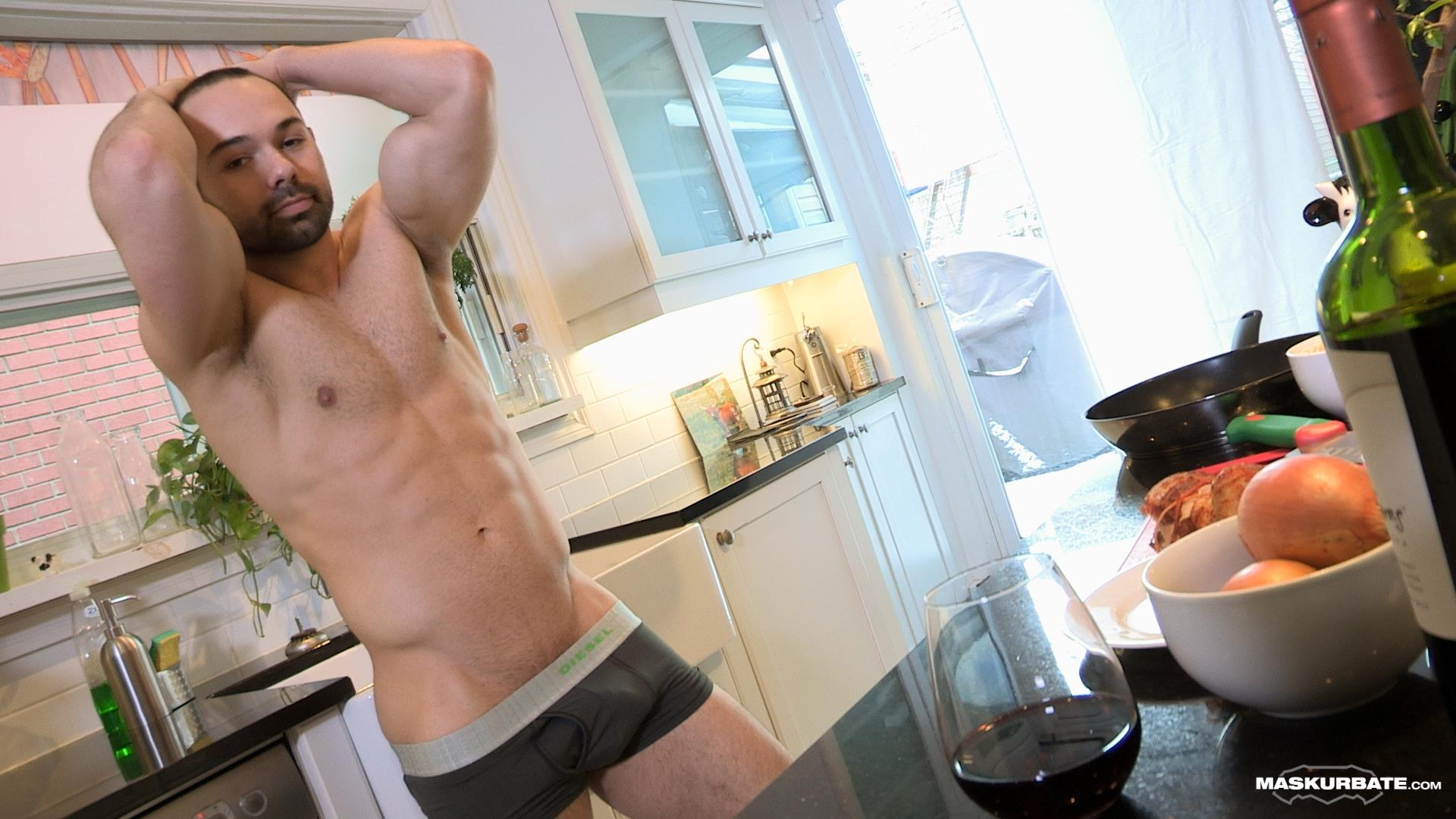 Maskurbate-Muscle-Hunk-With-A-Big-Uncut-Cock-Jerking-Off-Amateur-Gay-Porn-03 The Naked Chef Jerks His Big Uncut Cock In The Kitchen