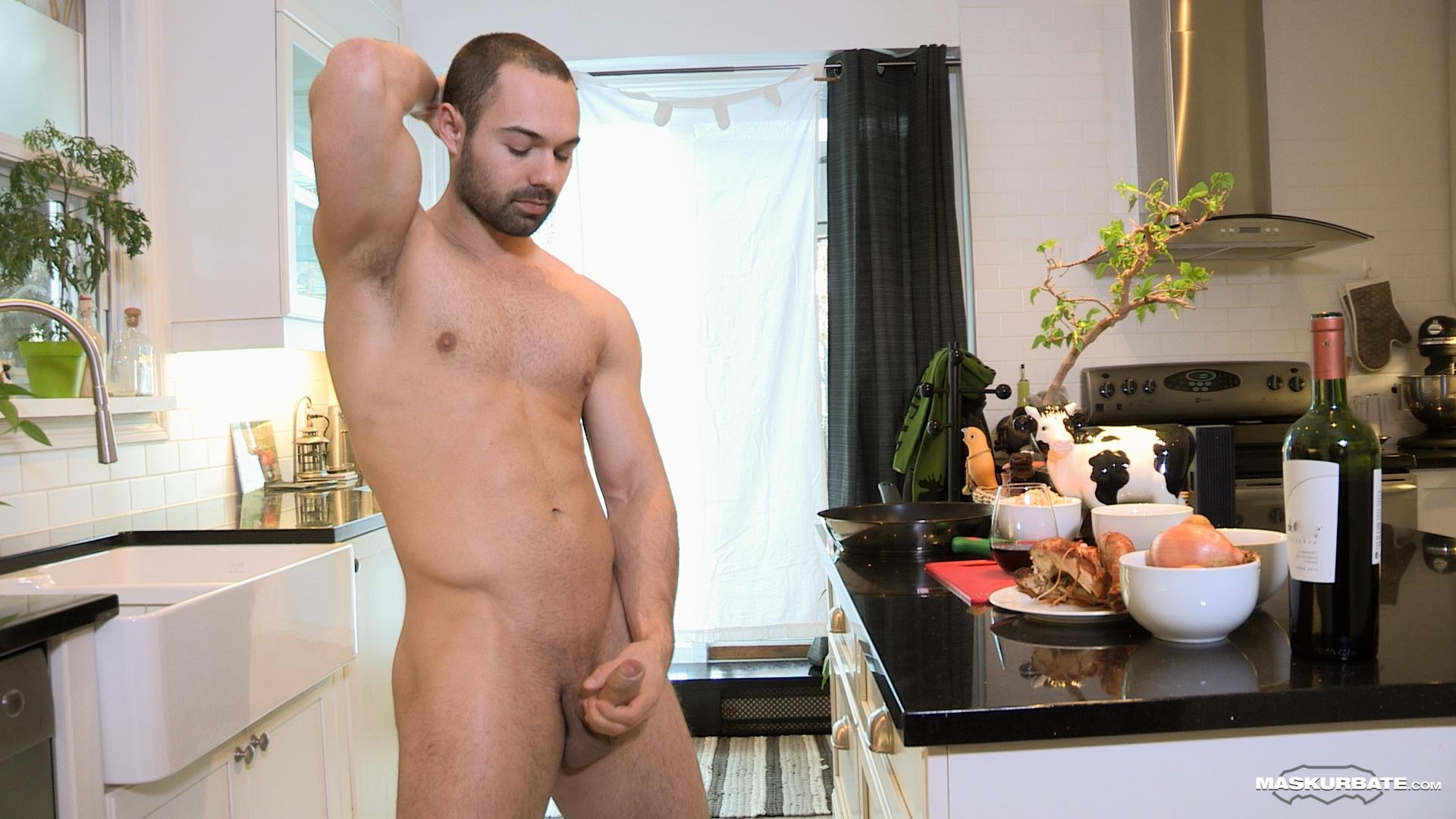 Maskurbate-Muscle-Hunk-With-A-Big-Uncut-Cock-Jerking-Off-Amateur-Gay-Porn-04 The Naked Chef Jerks His Big Uncut Cock In The Kitchen