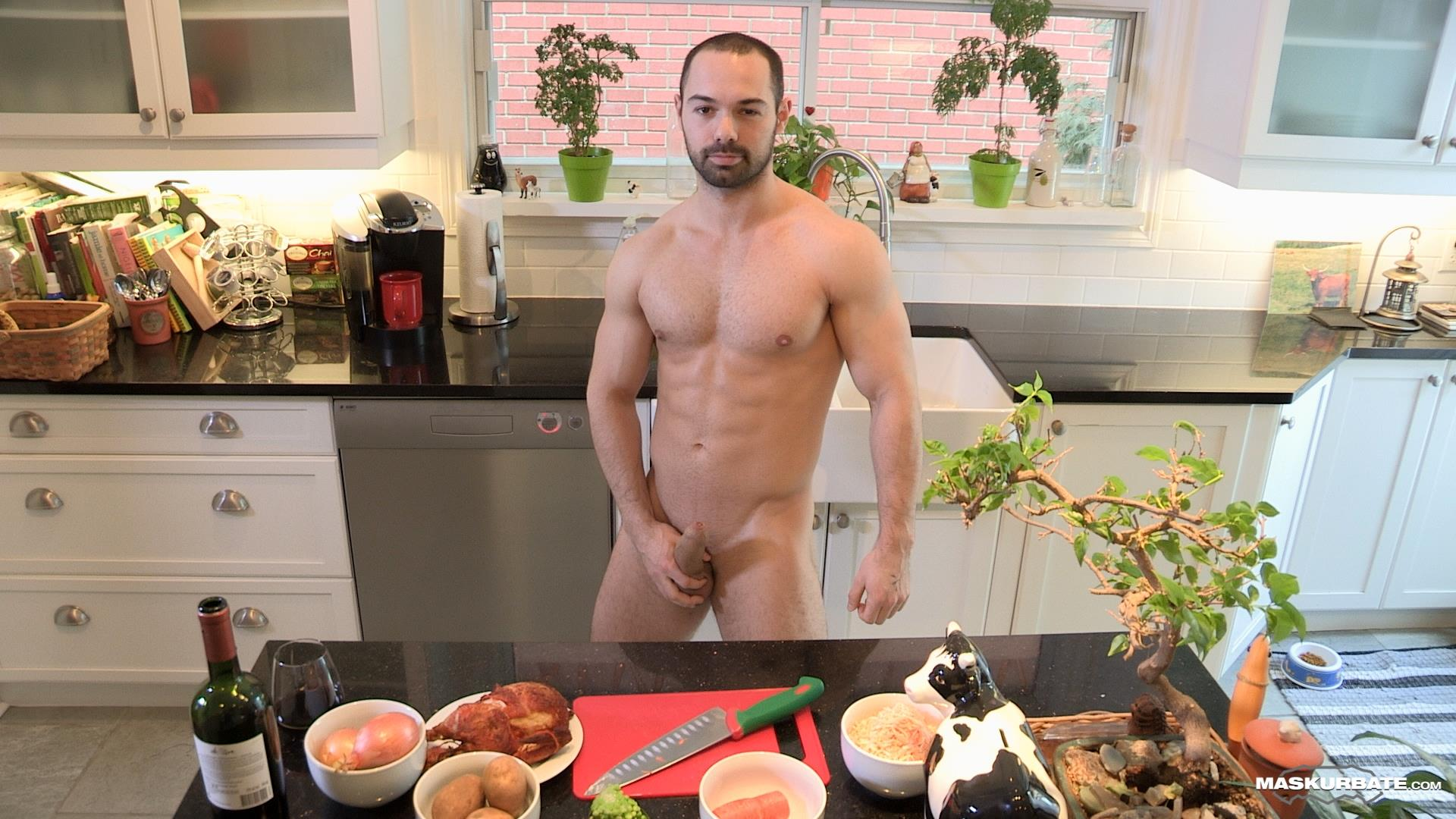 Maskurbate Muscle Hunk With A Big Uncut Cock Jerking Off Amateur Gay Porn 06 The Naked Chef Jerks His Big Uncut Cock In The Kitchen