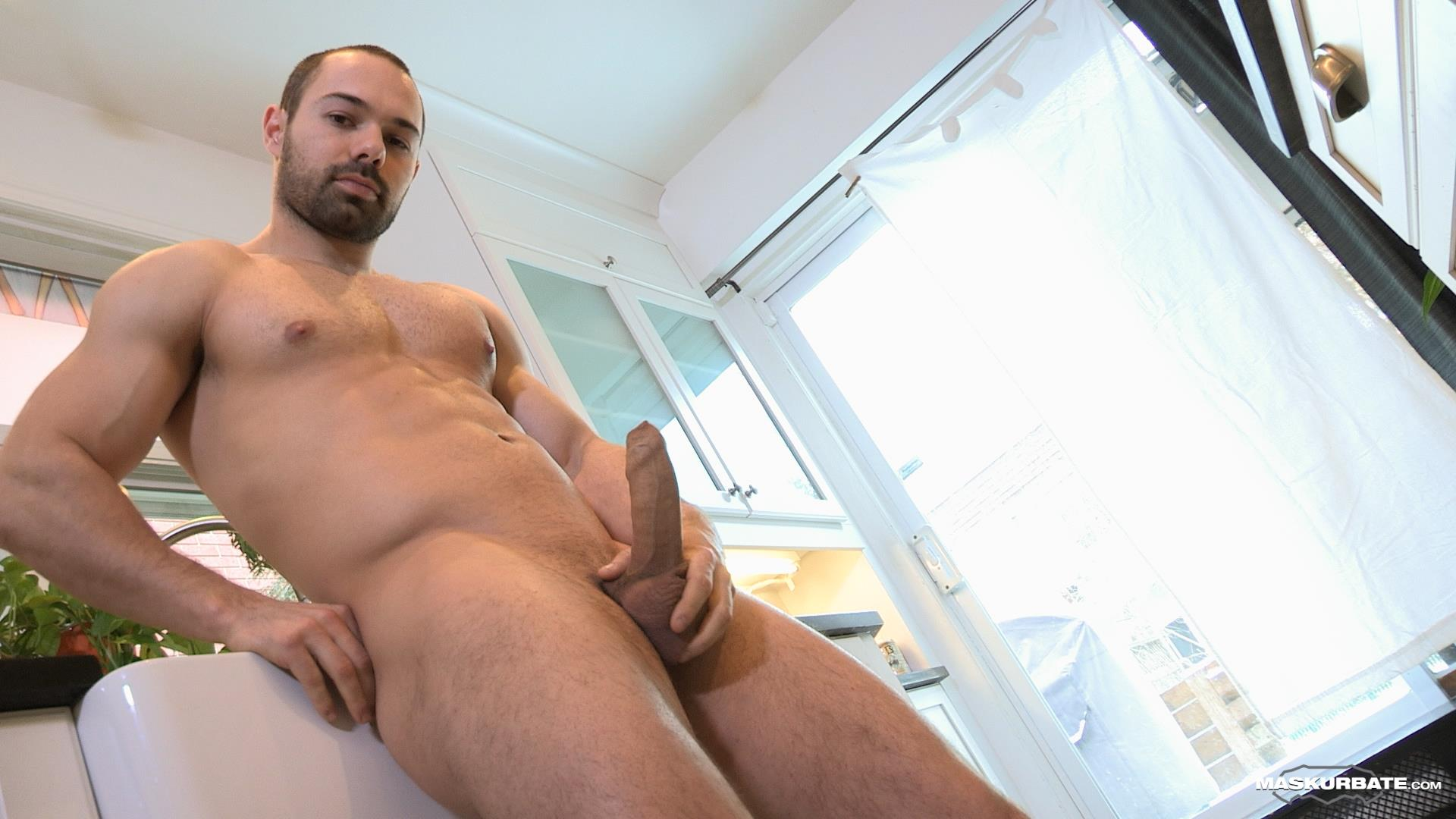 Maskurbate-Muscle-Hunk-With-A-Big-Uncut-Cock-Jerking-Off-Amateur-Gay-Porn-12 The Naked Chef Jerks His Big Uncut Cock In The Kitchen