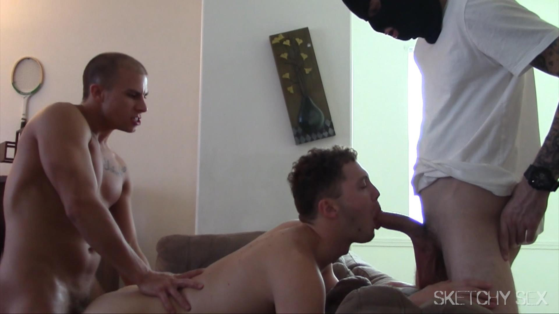 Sketchy-Sex-Bareback-Anonymous-Sex-Party-Gay-Bareback-Porn-13 Anonymous Masked Man Breeds Two Horny Bottom Bitches