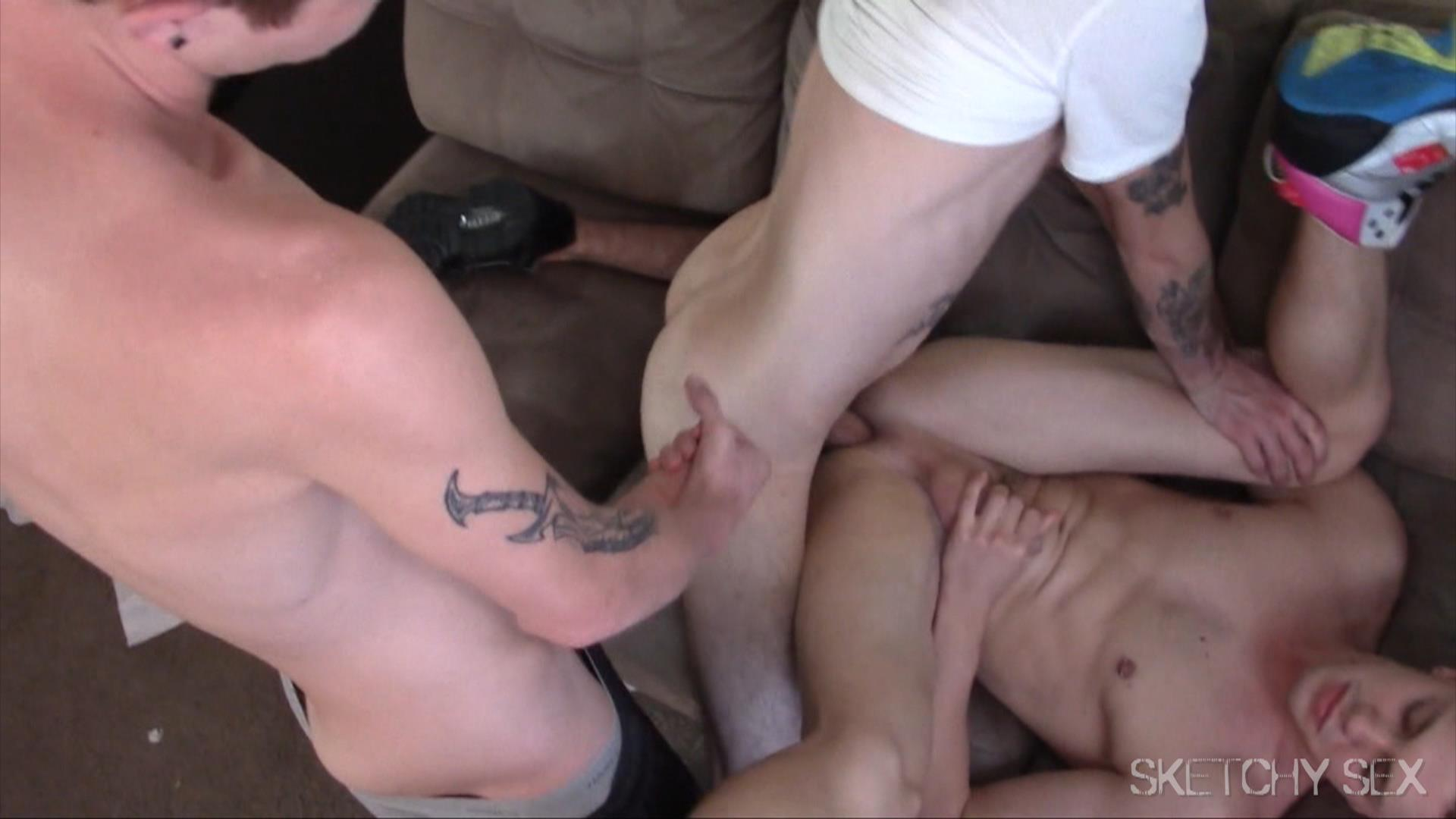Sketchy-Sex-Bareback-Anonymous-Sex-Party-Gay-Bareback-Porn-18 Anonymous Masked Man Breeds Two Horny Bottom Bitches